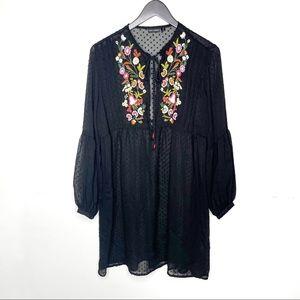 Coco + Carmen Semi Sheer Embroidered Dress
